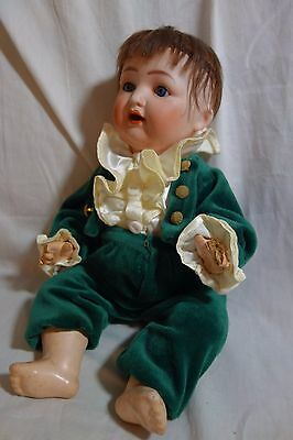 """Antique Nippon Boy Doll- Bisque/Compo-12""""-Human Hair-Marks:F 0.7 018  30/2- SALE"""