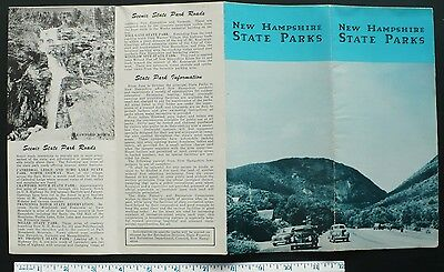 1940s New Hampshire State Parks Brochure 14 Photos & Large Map, Fishing Swimming