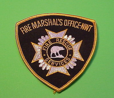Nwt  North West Territory  Canada  Fire Marshal  Fire Dept. Patch  Free Shipping