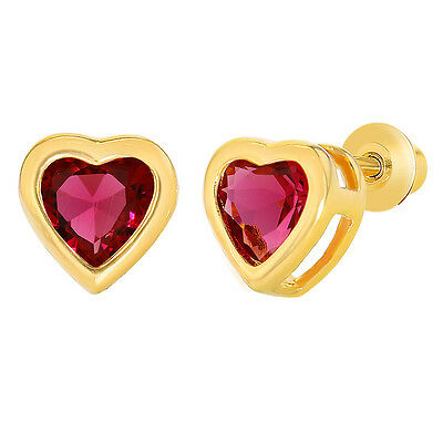 18k Gold Plated Pink Crystal Heart Screw Back Earrings Kids Girls
