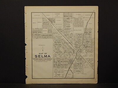 California, Fresno County Map, 1891, Selma, Kingsburg, Double Sided, !K2#59