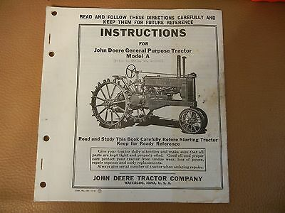 JOHN DEERE TRACTOR  MODEL  A    OPERATOR INSTRUCTIONS  MANUAL  - 28  pages - EXC