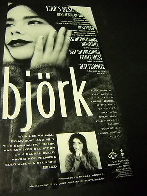 BJORK is the Year's Best Debut original 1994 music biz promo trade advert