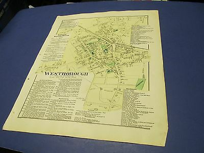 Antique 1870 map of Westborough Ma.center  by Beers.