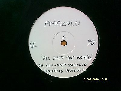 """Amazula All Over The World - Christmas Party Mix 12"""" Promo Single 1986 Excellent"""