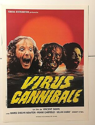 VIRUS cannibale - Affichette Synopsis cinema horreur zombie 1980