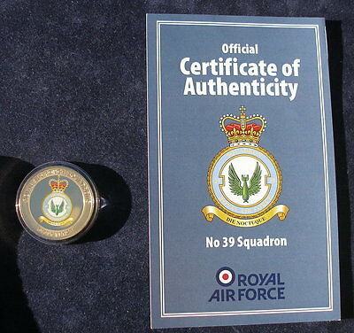 Guernsey 2013  Royal Air Force No 39 Squadron 24k gold plated 50p Certificate