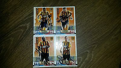 Set Of 4 Hand Signed Hull City 14/15 Match Attax Cards