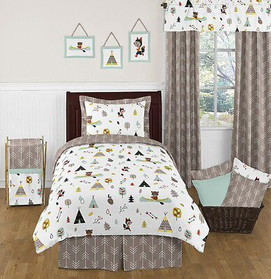 Sweet Jojo Designs Modern Blue Gray Fox Bear Kids Boys Bedroom Twin Bedding Set