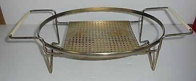 Gold Metal Oval Casserole Dish 2 Warming Candle Stand Holder Cradle Only
