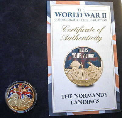 Jersey 2015 24k gold plated 50p WW2 The Normandy Landings  & + Certificate