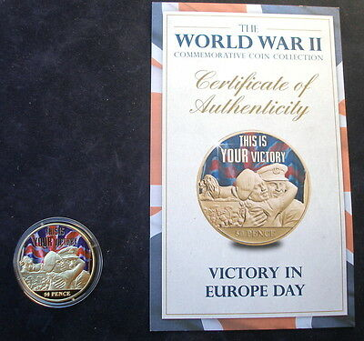 Jersey 2015 24k gold plated 50p WW2 Victory in Europe Day  & + Certificate