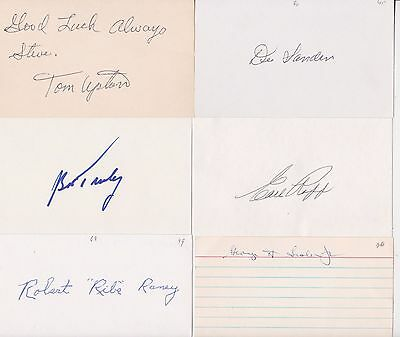Baseball Lot Of 6 Autograph Signed 3X5 Vintage Index Cards