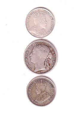 Straits Settlements 3 Silver Coins 1926 5 C, 1898 10 C And Scarce 1903 5 C.