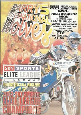 2003 WOLVES v IPSWICH + WOLF CUBS v WIMBLEDON DONS 28 / 29th APRIL