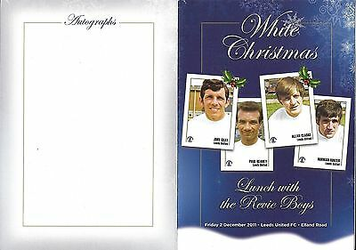 White Christmas Lunch with the Revie Boys 2011 Leeds United Football Menu