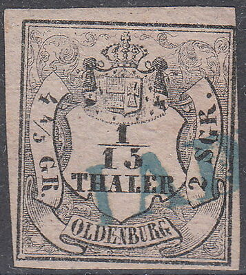 "Oldenburg: 1852, 1/15 Th. / 4 4/5 Ggr., blauer L1:"" JADE ""  Mi.Nr. 3 Type I  #65"