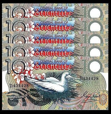 Seychelles 10 Rupees 1983 Unc Consecutive 5 Pcs Lot P.28 Central Bank