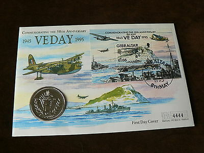 50th Anniversary of VE Day, 1995 Gibraltar £5 Coin Cover, WWII, Planes, Ship