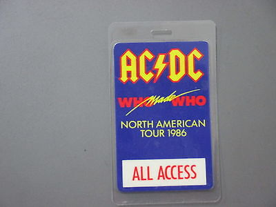 AC/DC backstage pass Laminated Who Made Who Tour !