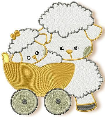 Mom And Baby Sheep 10 Machine Embroidery Designs Cd 4 Sizes Included