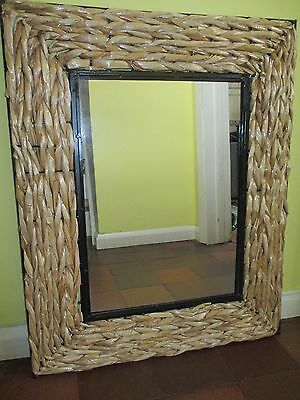 Large DUNELM MILL Rattan & Metal Framed Rectangle Wall Mirror