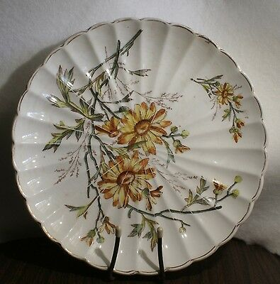 Antique Plate Colorful Yellow Daisy Design