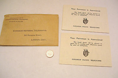 Canadian Pacific Telegraph  Unused Coin Cards with Envelope Canadian National