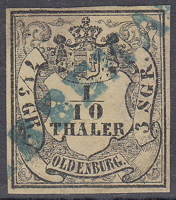 "Oldenburg: 1852,1/10 Th. / 7 1/5 Ggr./ 3 Sgr.,blauer L1:""ABBEHAUSEN"" Mi.Nr.4 #66"