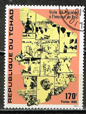 Tchad Country Map 1972 stamp
