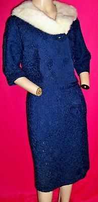 1950's 'S VINTAGE NAVY RIBBON 3-PIECE SUIT WITH WHITE MINK COLLAR--BUST 42""