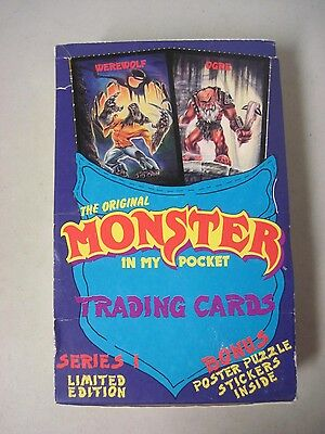 Monster In My Pocket Series 1 Trading Cards Box Of 44 Unopened Packs