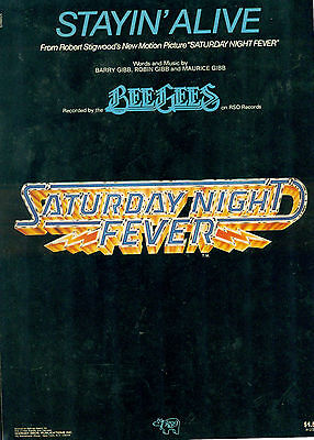 """SATURDAY NIGHT FEVER """"Stayin' Alive"""" 1977 Bee Gees sheet music"""