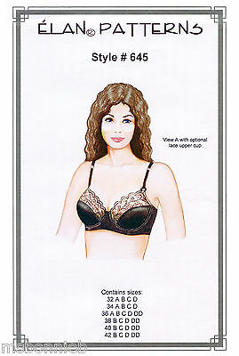 Softcup or Underwire Bra w/Back Closure 32A-42DD - Elan Sewing Pattern 645