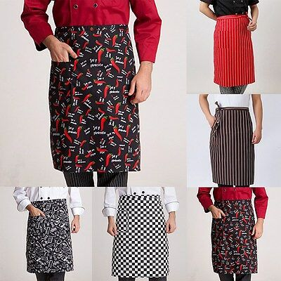 Newly Chef Waist Apron Cook Working Half Body Striped Aprons Kitchen Accessory