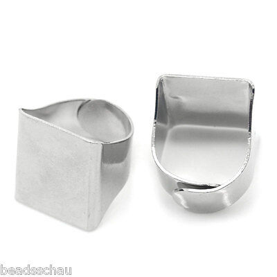 "10PCs Rings Adjustable Base Blank Silver Tone 16.3mm( 5/8"") GIFTS"