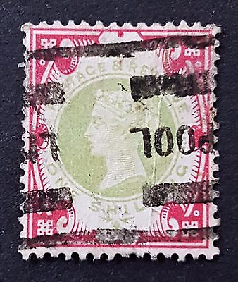 Great Britain UK 1900 Sc # 126 Used 1 Shilling Rose Green Stamp CV US $125.00