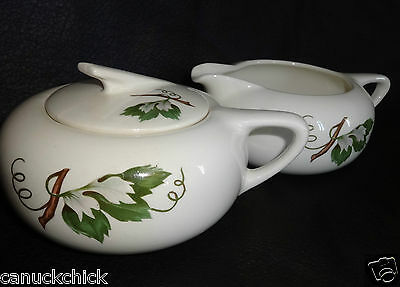 GRAPEVINE by British Empire Ceramics SUGAR BOWL AND CREAMER MILK JUG Rare!
