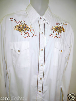 MENS Vtg WESTERN SHIRT 40 42 EMBROIDERY Cowboy Line Dancing Rodeo Canada Rare