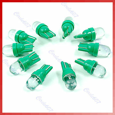 10PCS Gauge LED Light Bulb T10 194 168 Plate Dashboard Side Green Lamp new