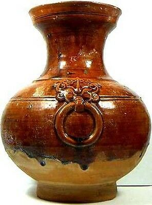 Lg Ceramic Faux Bronze Votive Vase 100BC Han Dynasty China Style - Antique Copy?