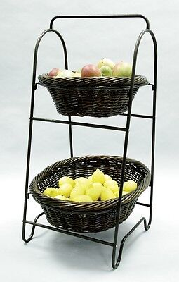For Sale 2-Tier Oval Willow Basket/Metal Frame Impluse Product Display