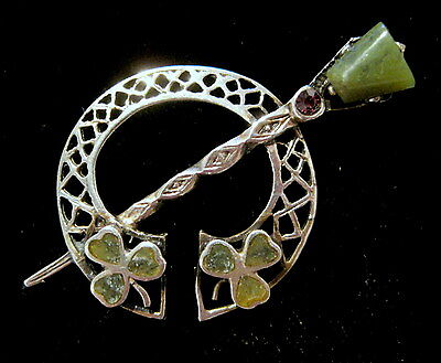 GORGEOUS Vintage IRISH Sterling Connemara Marble Clover STATIC PENANNULAR PIN