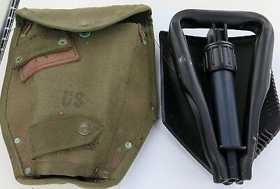 Vintage Us American Usa Intrenching Tool & Canvas Carry Bag.