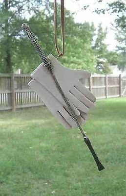 Holiday ENGLISH RIDING CROP/GLOVES White Resin Christmas Tree Ornament