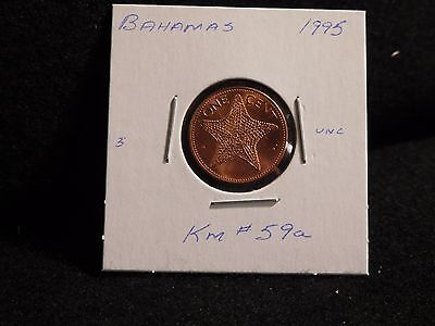 BAHAMA ISLANDS:   1995    1 CENT  COIN    (UNC.)    (#3103)  KM # 59a