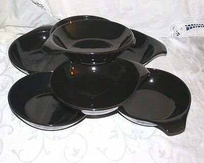 Oneida Russell Wright Black Soup Cereal Bowls W/Handle Set 8