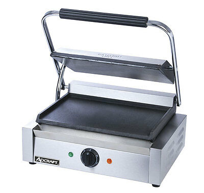 "Adcraft SG-811E/F Smooth Panini Grill 13 1/4"" x 9 1/4"" Single Electric 120v"