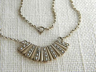 vintage split pearls necklace gold on sterling SILVER ~art deco style