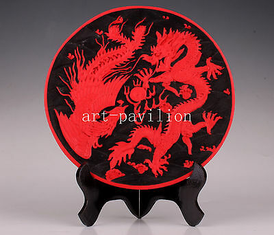 Royal Longfeng Statue Carved Lacquer Plate Decoration Vintage Collectable